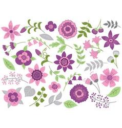 Purple Floral Set vector image vector image