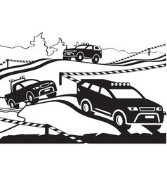 rally with off-road vehicles vector image