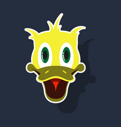Realistic paper sticker on theme funny animal duck vector
