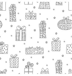seamless pattern with cute giftboxes vector image
