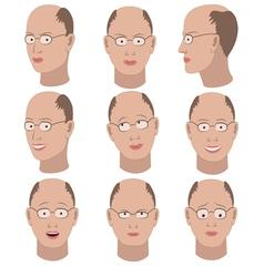 Set of variation of emotions of the same bald man vector