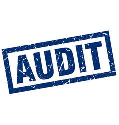 Square grunge blue audit stamp vector