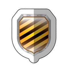 sticker metallic square shield with colorful vector image vector image