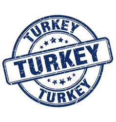 Turkey blue grunge round vintage rubber stamp vector
