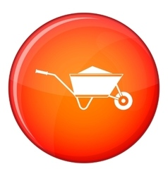 Wheelbarrow with sand icon flat style vector image vector image