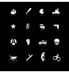 White riot icons on black vector