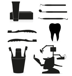 working set dental icons vector image vector image