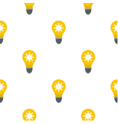 Yellow light bulb with sun inside pattern flat vector