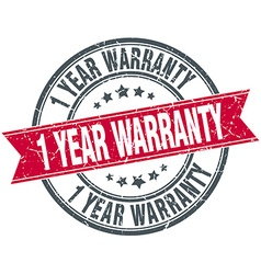 1 year warranty red round grunge vintage ribbon vector