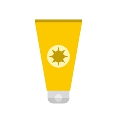 Tube with sunbathing cream icon vector