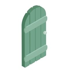 Wooden garden door icon cartoon style vector