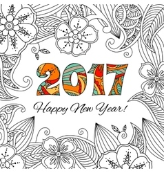 New year card with numbers 2017 on floral vector