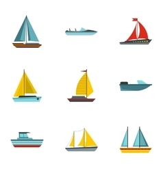 Ship icons set flat style vector