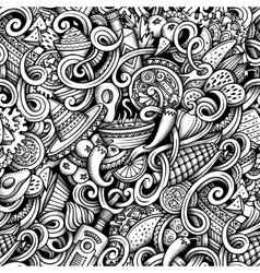 Cartoon hand-drawn doodles mexican cuisine vector