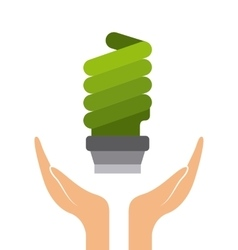 Green bulb light icon vector
