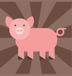 Cute pig cartoon animal pink agriculture farm vector