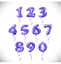purple number 1 2 3 4 5 6 7 8 9 0 metallic vector image