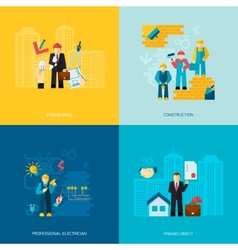Construction professions set vector