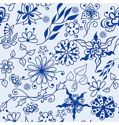 Abstract seamless doodle flowers pattern vector