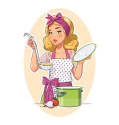 Housewife girl cooking food vector