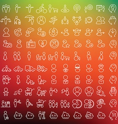 One hundred icons set for applications and vector