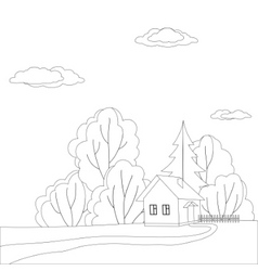 House in forest contours vector