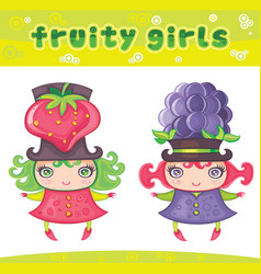 fruity girls series 6 strawberry blackberry vector image