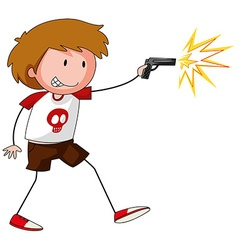 Boy playing with gun vector