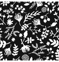 Seamless vintage black and white floral pattern vector