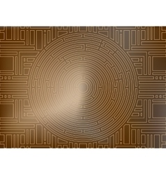 Circular labyrinth background gold antique vector