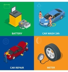 Auto mechanic design concept set with car repair vector