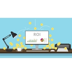 Roi return on investment with graph and gold coin vector