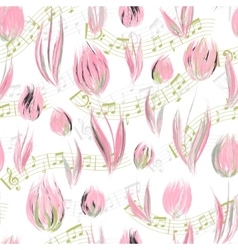 Bright seamless pattern with oil painted delicate vector