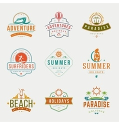 Summer holidays typography labels or badges vector