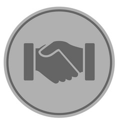 Acquisition handshake silver coin vector