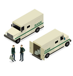 Armored truck set isometric view vector