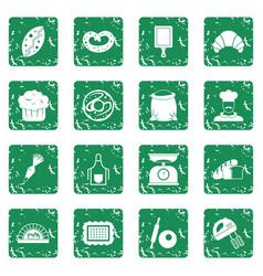 Bakery icons set grunge vector