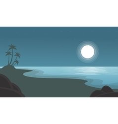 Beach with moon scenery of silhouettes vector