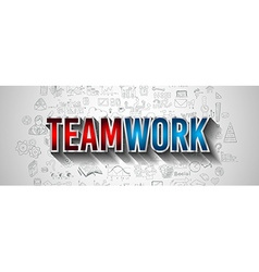 Business teamwork concept with doodle design style vector