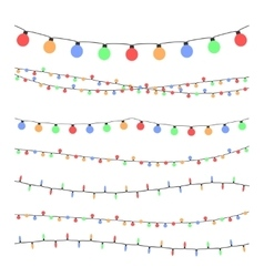 Christmas holiday garland lights in flat style vector image