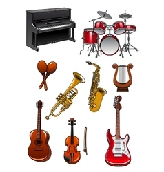 Classic musical instruments on white background vector image