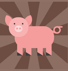 Cute pig cartoon animal pink agriculture farm vector