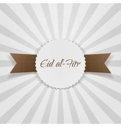 Eid al-fitr greeting paper badge vector