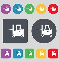 Forklift icon sign a set of 12 colored buttons vector