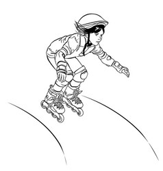 girl-roller skates from the hill vector image