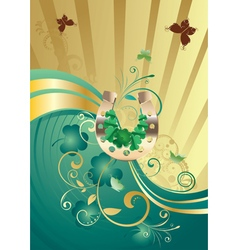 Gold and green shamrock background vector