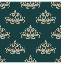Green and beige seamless damask pattern vector image