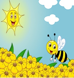Happy bee cartoon on the flower field vector image