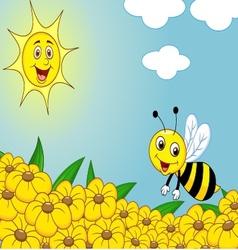 Happy bee cartoon on the flower field vector