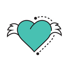 Icon hearts wings blue vector